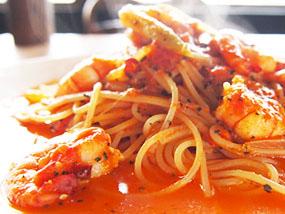 海老バジルのトマトスパゲティー
